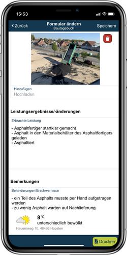 Über das Smartphone werden alle Inhalte des Bautagebuchs bequem eingetragen