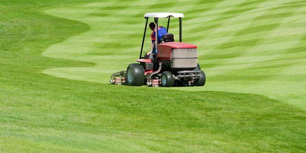 Ein Grünanlagenfahrzeug mäht den Rasen eines Golfplatzes. GPS-Sender im Fahrzeug erfassen die Einsatzstunden und den genauen Standort