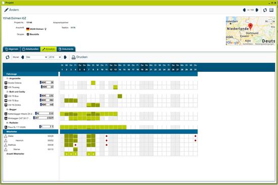 Screenshot Einsätze Hoch & Tiefbau