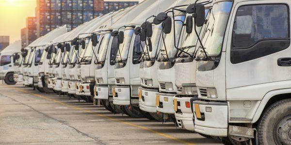 Eine Flotte von LKW auf einem Parkplatz. GPS-Ortung für digitales Fuhrparkmanagement